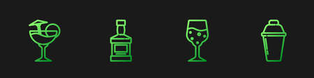 Set line Glass of champagne, Cocktail, Whiskey bottle and shaker. Gradient color icons. Vector Vettoriali