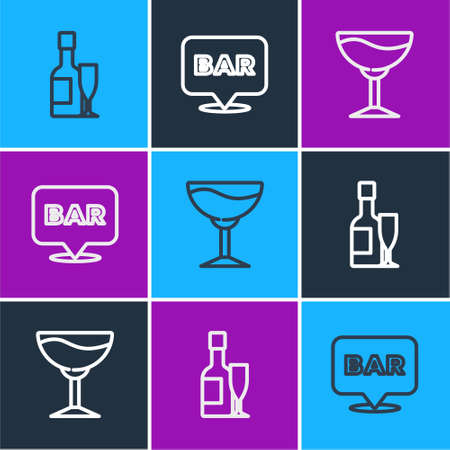 Set line Champagne bottle and glass, Wine and Alcohol bar location icon. Vector