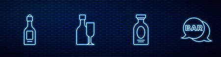 Set line Alcohol drink Rum, Champagne bottle, Wine with glass and Street signboard Bar. Glowing neon icon on brick wall. Vector Vettoriali