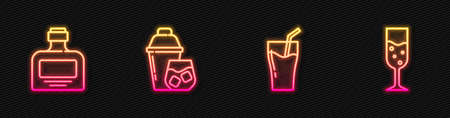 Set line Glass of juice, Whiskey bottle, Cocktail shaker and champagne. Glowing neon icon. Vector Vettoriali