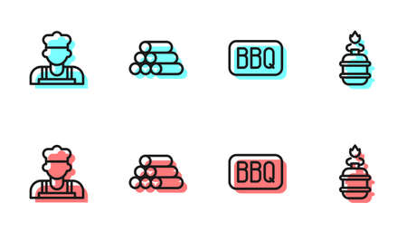 Set line Barbecue, Cook, Wooden logs and Camping gas stove icon. Vector
