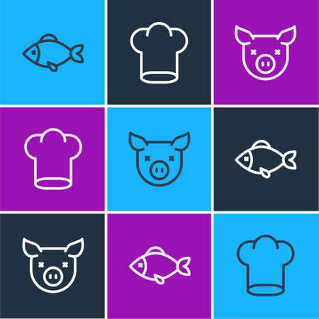 Set line Fish, Pig and Chef hat icon. Vector
