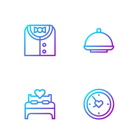 Set line Clock with heart, Bedroom, Suit and Covered tray. Gradient color icons. Vector