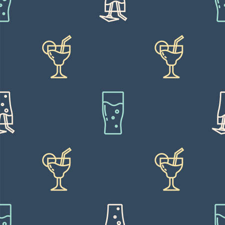 Set line Cocktail, and Glass of beer on seamless pattern. Vector Vettoriali