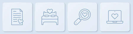 Set line Envelope with Valentine heart, Search and love, Bedroom and Dating app online. White square button. Vector Vettoriali