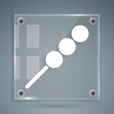 White Meatballs on wooden stick icon isolated on grey background. Skewer with meat. Square glass panels. Vector Illustration