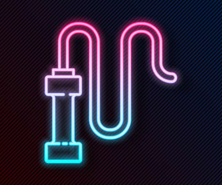 Glowing neon line Braided leather whip icon isolated on black background. Vector Ilustración de vector