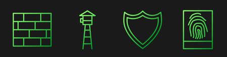Set line Shield, Bricks, Watch tower and Fingerprint. Gradient color icons. Vector