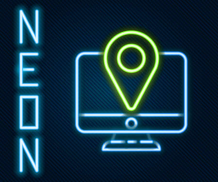 Glowing neon line Computer monitor and folded map with location marker icon isolated on black background. Colorful outline concept. Vector Illustration