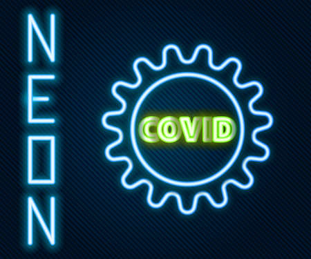 Glowing neon line Corona virus covid-19 icon isolated on black background. Bacteria and germs, cell cancer, microbe, fungi. Colorful outline concept. Vector Illustration Archivio Fotografico - 167329107