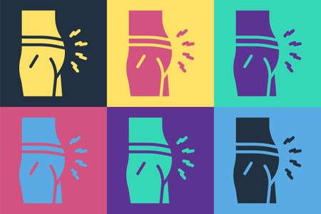 Pop art Abdominal bloating icon isolated on color background. Constipation or diarrhea. Vector