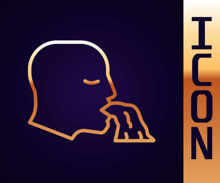 Gold line Vomiting man icon isolated on black background. Symptom of disease, problem with health. Nausea, food poisoning, alcohol poisoning concept. Vector