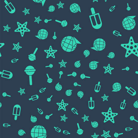 Set Globe with flying plane, Ice cream, Lollipop and Starfish on seamless pattern. Vector
