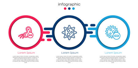 Set line Negative virus. Business infographic template. Vector