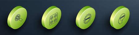 Set Isometric Virus under magnifying glass, Pills blister pack, Corona virus covid-19 and 2019-nCoV icon. Vector