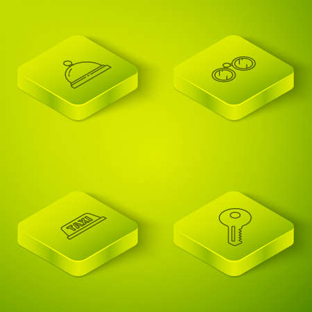 Set Isometric Binoculars, Taxi car roof, Key and Hotel service bell icon. Vector 写真素材 - 167153459