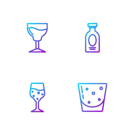 Set line Glass of rum, champagne, Wine glass and Alcohol drink Rum. Gradient color icons. Vector Vettoriali