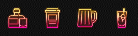 Set line Wooden beer mug, Whiskey bottle and glass, Coffee cup to go and Cocktail Bloody Mary. Glowing neon icon. Vector