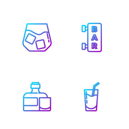 Set line Cocktail, Whiskey bottle with glass, and Street signboard with Bar. Gradient color icons. Vector
