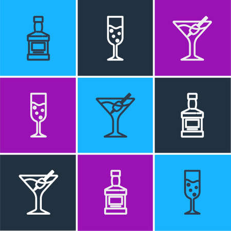 Set line Whiskey bottle, Martini glass and Glass of champagne icon. Vector Vettoriali