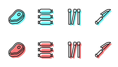 Set line Matches, Steak meat, Sausage and Knife icon. Vector