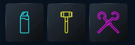 Set line Lighter, BBQ skewers and Kitchen hammer. Black square button. Vector