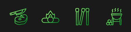 Set line Matches, Steak meat with knife, Campfire and Barbecue grill. Gradient color icons. Vector Vettoriali