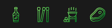 Set line Barbecue grill, Ketchup bottle, Matches and Steak meat. Gradient color icons. Vector Vettoriali
