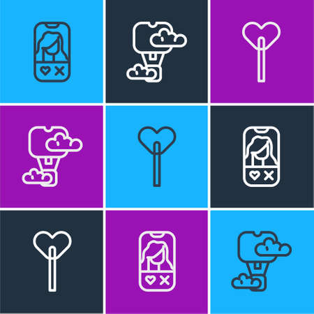 Set line Dating app online, Lollipop and Romantic hot air balloon icon. Vector