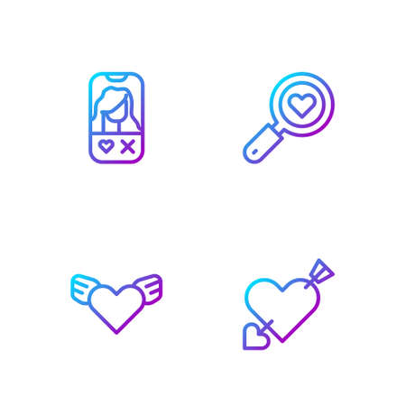 Set line Amour with heart and arrow, Heart wings, Dating app online and Search love. Gradient color icons. Vector