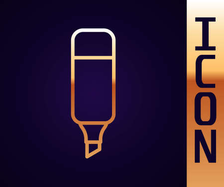 Gold line Marker pen icon isolated on black background. Vector Illustration