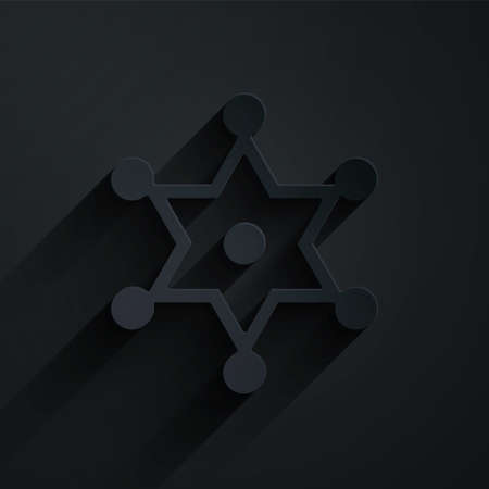 Paper cut Hexagram sheriff icon isolated on black background. Police badge icon. Paper art style. Vector