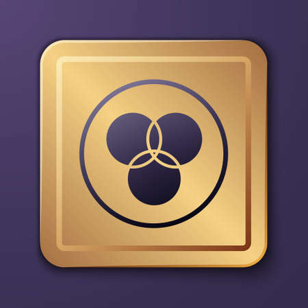 Purple RGB and CMYK color mixing icon isolated on purple background. Gold square button. Vector Vettoriali
