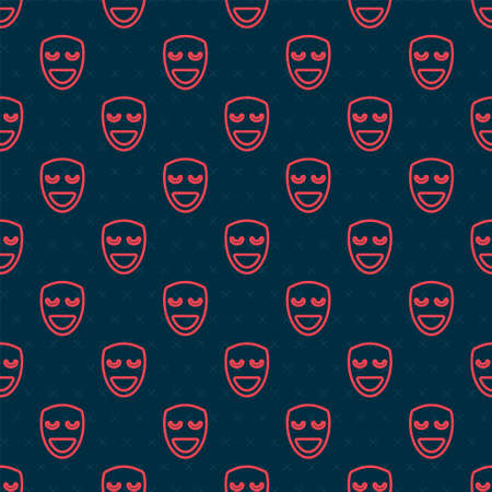 Red line Comedy theatrical mask icon isolated seamless pattern on black background. Vector Vector Illustration