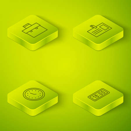 Set Isometric Identification badge, Clock, Digital alarm clock and Briefcase icon. Vector