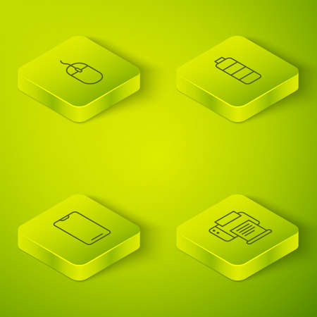 Set Isometric Battery charge level indicator, Smartphone, mobile phone, Printer and Computer mouse icon. Vector Ilustrace