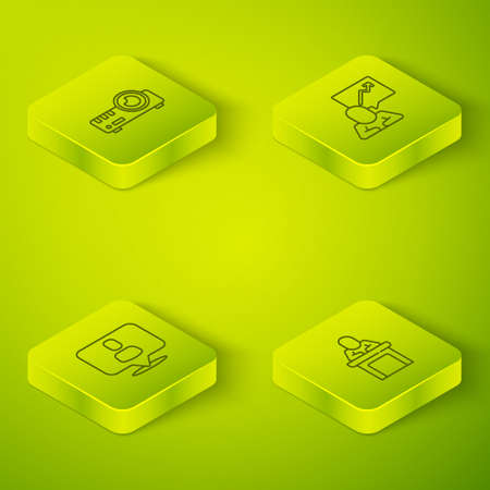 Set Isometric Team leader, Head hunting, Speaker and Media projector icon. Vector