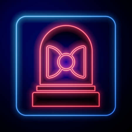 Glowing neon Motion sensor icon isolated on blue background. Vector