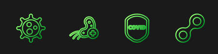 Set line Shield protecting from virus, Virus, Positive. Gradient color icons. Vector
