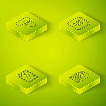 Set Isometric line UI or UX design, Web development, and Keyboard icon. Vector Çizim