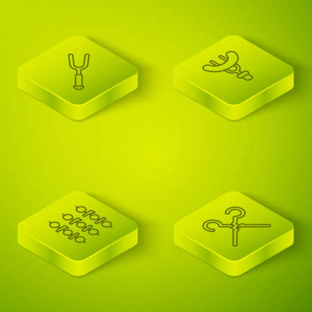 Set Isometric line Sausage on the fork, Grilled shish kebab, BBQ skewers and Barbecue icon. Vector