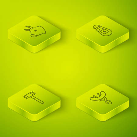 Set Isometric line Salt, Kitchen hammer, Sausage on the fork and Cow head icon. Vector Çizim