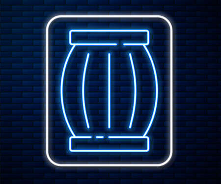 Glowing neon line Gun powder barrel icon isolated on brick wall background. TNT dynamite wooden old barrel. Vector