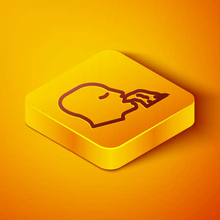 Isometric line Vomiting man icon isolated on orange background. Symptom of disease, problem with health. Nausea, food poisoning, alcohol poisoning concept. Yellow square button. Vector