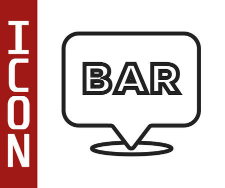 Black line Alcohol or beer bar location icon isolated on white background. Symbol of drinking, pub, club, bar. Vector