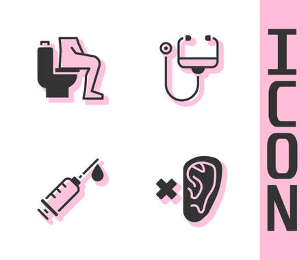 Set Deaf, Constipation, Syringe and Stethoscope icon. Vector