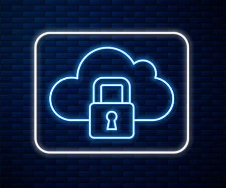 Glowing neon line Cloud computing lock icon isolated on brick wall background. Security, safety, protection concept. Protection of personal data. Vector