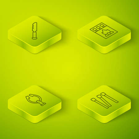 Set Isometric line Matchbox and matches, Meat tongs, Matches and Bread knife icon. Vector