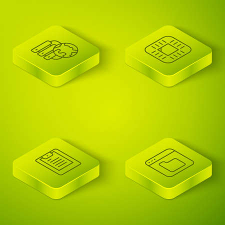 Set Isometric line Processor with CPU, Server, Data report, Browser files and Network cloud connection icon. Vector
