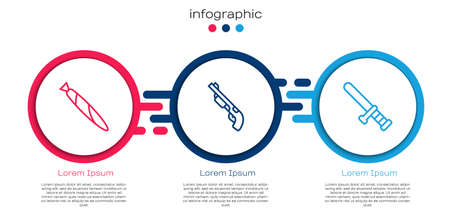 Set line Marijuana joint, Police shotgun and rubber baton. Business infographic template. Vector